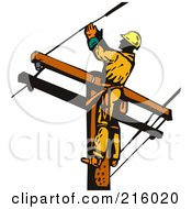 Royalty Free RF Clipart Illustration Of A Lineman On A Pole 17