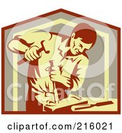 Poster, Art Print Of Retro Carpenter Chiseling