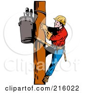 Royalty Free RF Clipart Illustration Of A Lineman On A Pole 9 by patrimonio
