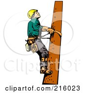 Royalty Free RF Clipart Illustration Of A Lineman On A Pole 10