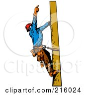 Royalty Free RF Clipart Illustration Of A Lineman On A Pole 11