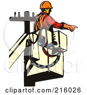 Royalty Free RF Clipart Illustration Of A Retro Lineman Working In A Lift Bucket 1