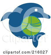 Royalty Free RF Clipart Illustration Of A Blue Dolphin With A Basketball by patrimonio