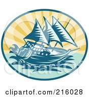 Royalty Free RF Clipart Illustration Of A Retro Galleon Ship Logo by patrimonio