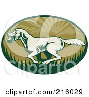 Royalty Free RF Clipart Illustration Of A Green Retro Fetching Dog Logo