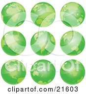 Clipart Illustration Graphic Of Nine Green Global Views Of The Different Continents Of Planet Earth