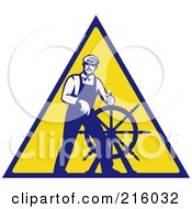 Royalty Free RF Clipart Illustration Of A Retro Captain Steering A Helm On A Yellow Sign by patrimonio