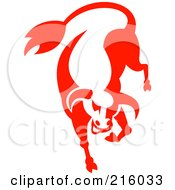 Royalty Free RF Clipart Illustration Of A Red Bucking Bull Logo