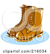 Royalty Free RF Clipart Illustration Of A Pair Of Brown Lineman Boots by patrimonio