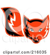 Royalty Free RF Clipart Illustration Of A Retro Red Fox Face And Tail by patrimonio