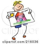 Royalty Free RF Clipart Illustration Of A Childs Sketch Of A Boy Holding A Drawing Of A House