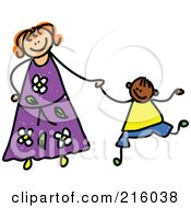 Royalty Free RF Clipart Illustration Of A Childs Sketch Of A Mother Holding Hands With Her Boy