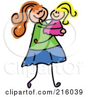 Royalty Free RF Clipart Illustration Of A Childs Sketch Of A Mom Carrying Her Daughter