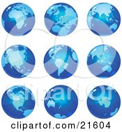 Clipart Illustration Graphic Of Nine Global Views Of The Different Continents On Planet Earth In Blue Tones