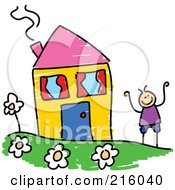 Royalty Free RF Clipart Illustration Of A Childs Sketch Of A Boy By A Yellow House
