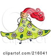 Royalty Free RF Clipart Illustration Of A Childs Sketch Of A Girl In A Floral Dress