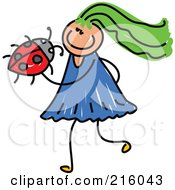 Royalty Free RF Clipart Illustration Of A Childs Sketch Of A Girl Holding A Ladybug by Prawny