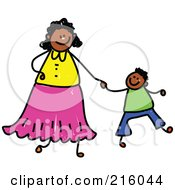 Childs Sketch Of A Black Mother Holding Hands With Her Son