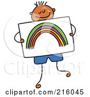 Childs Sketch Of A Boy Holding A Drawing Of A Rainbow