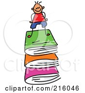 Royalty Free RF Clipart Illustration Of A Childs Sketch Of A Boy On A Stack Of Books