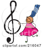 Royalty Free RF Clipart Illustration Of A Childs Sketch Of A Girl Holding A Treble Clef
