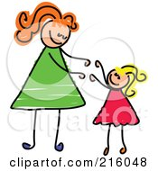 Royalty Free RF Clipart Illustration Of A Childs Sketch Of A Blond Girl Reaching Up To Her Mom