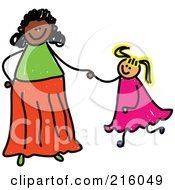 Royalty Free RF Clipart Illustration Of A Childs Sketch Of A Mom Holding Hand With Her Blond Daughter