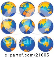 Clipart Illustration Graphic Of Nine Views Of The Continents On Planet Earth In Orange And Tones