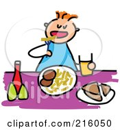 Royalty Free RF Clipart Illustration Of A Childs Sketch Of A Boy Eating Lunch