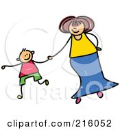 Royalty Free RF Clipart Illustration Of A Childs Sketch Of A Mother Holding Hands With Her Son