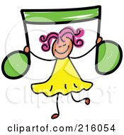 Royalty Free RF Clipart Illustration Of A Childs Sketch Of A Girl Holding Up A Green Music Note