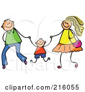 Royalty Free RF Clipart Illustration Of A Childs Sketch Of A Mom And Dad Swinging Their Son by Prawny