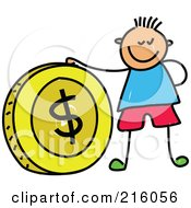 Royalty Free RF Clipart Illustration Of A Childs Sketch Of A Boy With A Big Dollar Coin