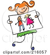 Royalty Free RF Clipart Illustration Of A Childs Sketch Of A Girl Holding A Drawing Of Kids Holding Hands