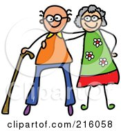 Royalty Free RF Clipart Illustration Of A Childs Sketch Of A Happy Elderly Couple