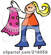 Royalty Free RF Clipart Illustration Of A Childs Sketch Of A Blond Girl Holding A Dress On A Hanger
