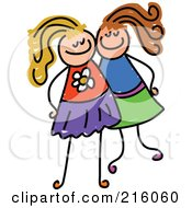 Royalty Free RF Clipart Illustration Of A Childs Sketch Of Two Girls Posing Together by Prawny