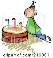Royalty Free RF Clipart Illustration Of A Childs Sketch Of A Birthday Boy Blowing Out His Cake Candles by Prawny