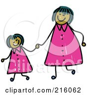 Royalty Free RF Clipart Illustration Of A Childs Sketch Of A Happy Mom And Daughter Holding Hands And Wearing Matching Clothes by Prawny