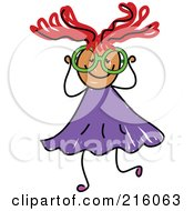 Royalty Free RF Clipart Illustration Of A Childs Sketch Of A Girl Wearing Big Green Glasses