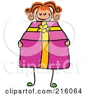 Royalty Free RF Clipart Illustration Of A Childs Sketch Of A Girl Holding A Pink Present by Prawny
