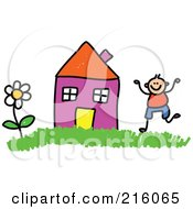 Royalty Free RF Clipart Illustration Of A Childs Sketch Of A Boy By A Purple House