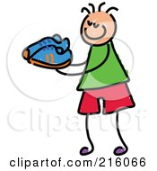 Royalty Free RF Clipart Illustration Of A Childs Sketch Of A Boy Carrying Shoes