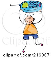 Royalty Free RF Clipart Illustration Of A Childs Sketch Of A Boy Holding Up A Blue Cell Phone by Prawny