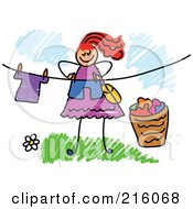 Royalty Free RF Clipart Illustration Of A Childs Sketch Of A Woman Hanging Laundry On A Line