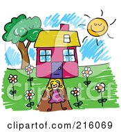 Royalty Free RF Clipart Illustration Of A Childs Sketch Of A Girl Standing In Front Of Her House by Prawny