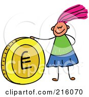 Royalty Free RF Clipart Illustration Of A Childs Sketch Of A Girl With A Euro Coin
