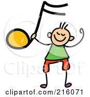 Royalty Free RF Clipart Illustration Of A Childs Sketch Of A Boy Holding Up An Orange Music Note
