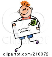 Royalty Free RF Clipart Illustration Of A Childs Sketch Of A Boy Holding An Envelope by Prawny