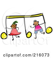 Royalty Free RF Clipart Illustration Of A Childs Sketch Of A Boy And Girl With A Yellow Music Note